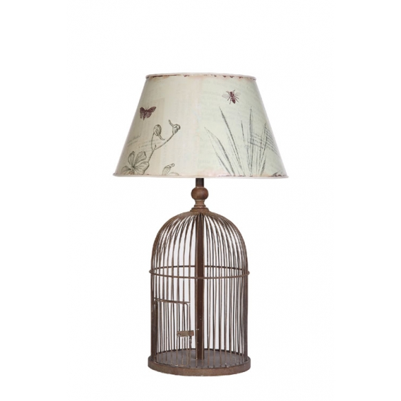 "21-1/4""H Metal Birdcage Table Lamp w/ Tin Shade w/ Bird Images ©"