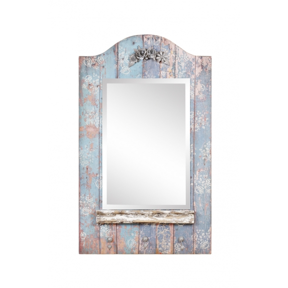 "39-1/2""H Fir & MDF Framed Beveled Mirror w/ Metal Embellishments & 3 Hooks, Distressed Blue"