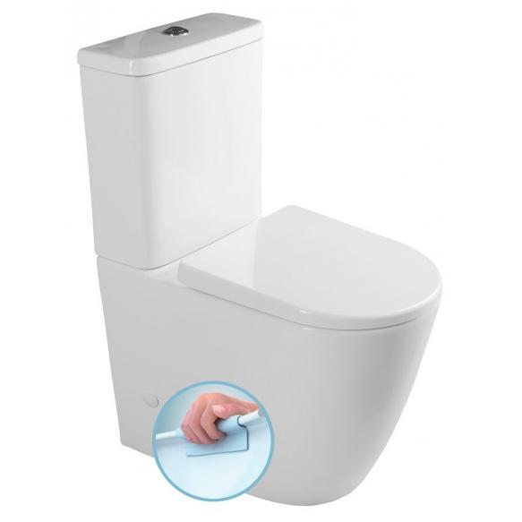 rimless wc kompakt Turku, universaalne trapp, 2-süsteemne, komplektis soft close iste (osad: 1,2)
