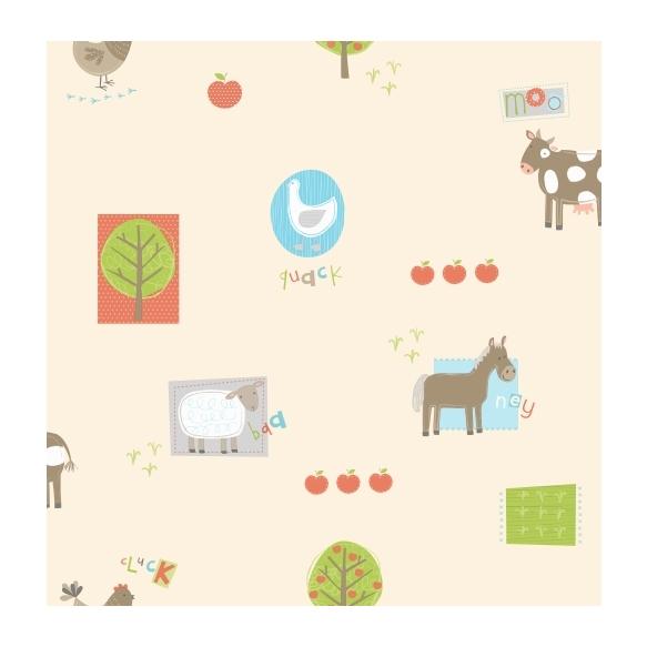 Hoopla Farm Animals Sidewall Multi mid tones