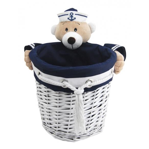 Basket Captain Bear L round d28 x26x22cm