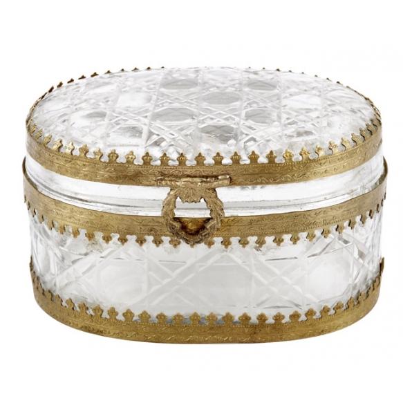 """5""""L x 3-1/2""""W x 3""""H Brass & Glass Oval Box, Imported"""