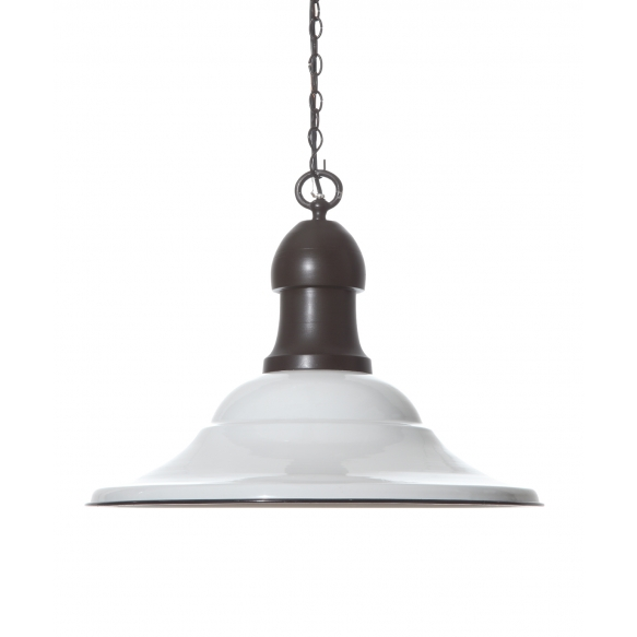 "21"" Round x 17""H Metal 2-Tone Hanging Pendant Lamp, White Enamel & Bronze Finish, Imported"