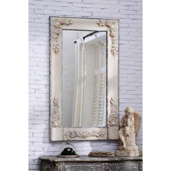 "32""L x 53-1/2""H Fir Framed Mirror w/ Resin Accents"