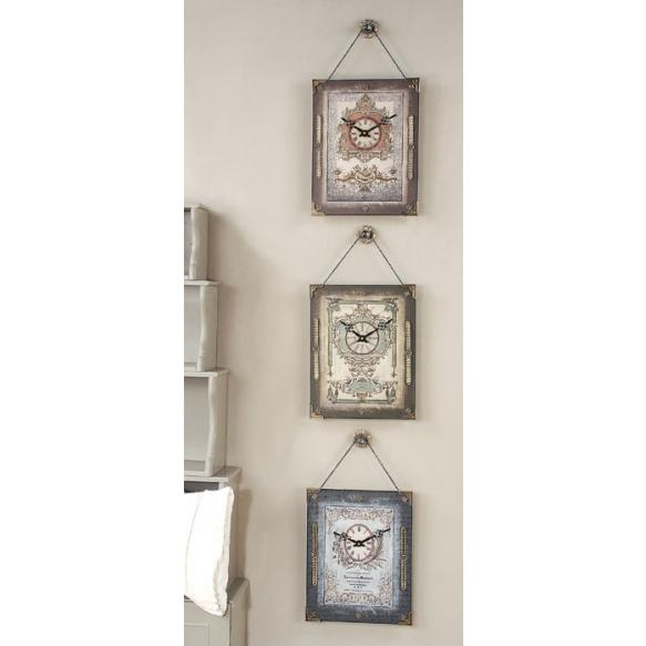 "14""H Pine & MDF Rectangle Clock w/ Hanger, 3 Styles"