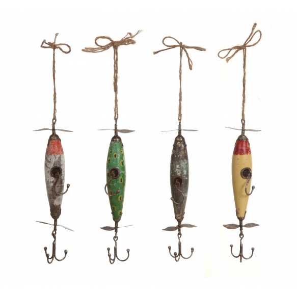 """13-1/2""""H Fir & Metal Vintage Reproduction of Fishing Lure Hooks, 4 Styles"""