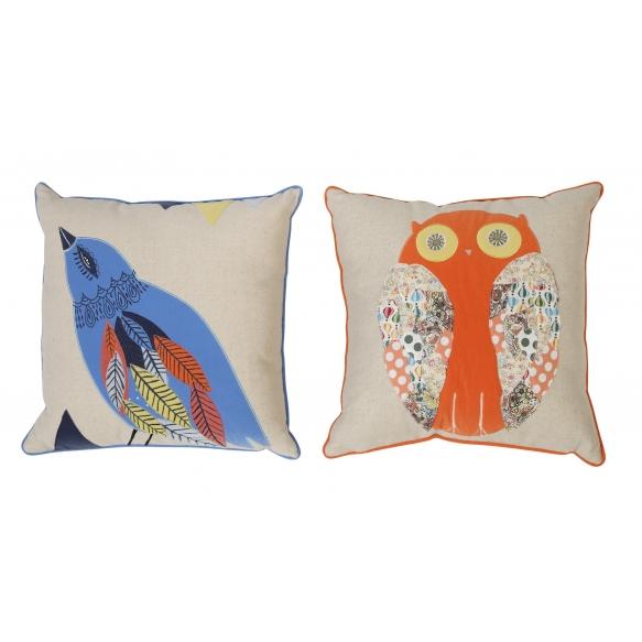 """18"""" Square Cotton & Linen Appliqued Velvet Pillow, 2 Styles ©"""