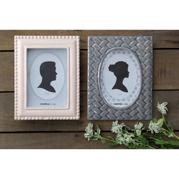 """4"""" x 6"""" Stoneware Photo Frame, Grey & White, 2 Styles"""
