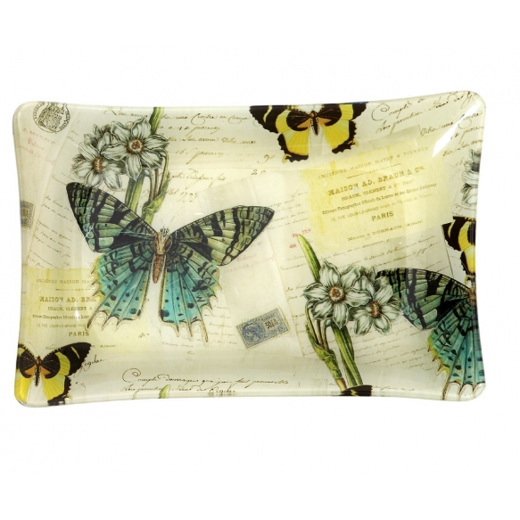 "12-1/4""L Vintage Butterfly Glass Plate"