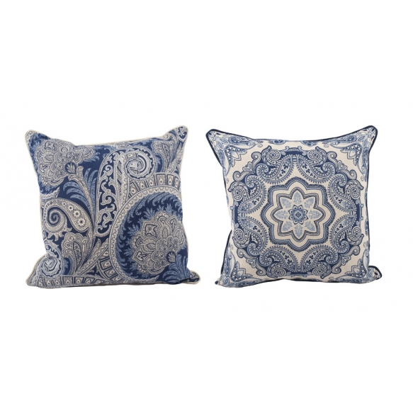 "18""Square Cotton & Linen Pillow, Blue & White, 2 Styles"