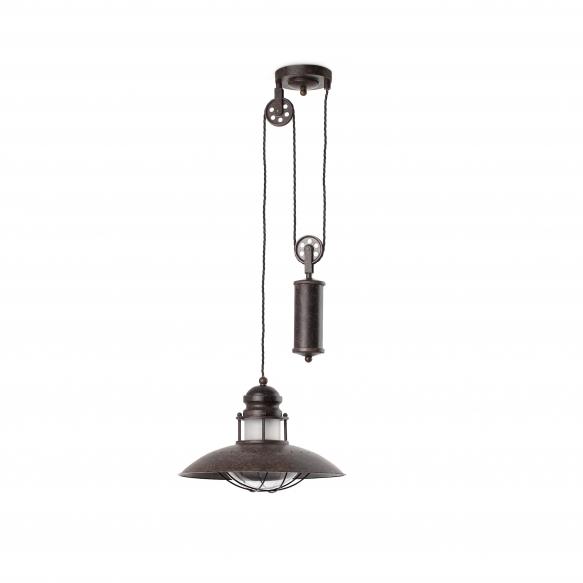 CEILING LAMP WINCH 1L E27 60W RUSTIC, METAL+GLASS