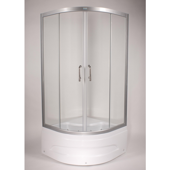 Shower cabin ,round,aluminium frame, 5 mm , clear glass