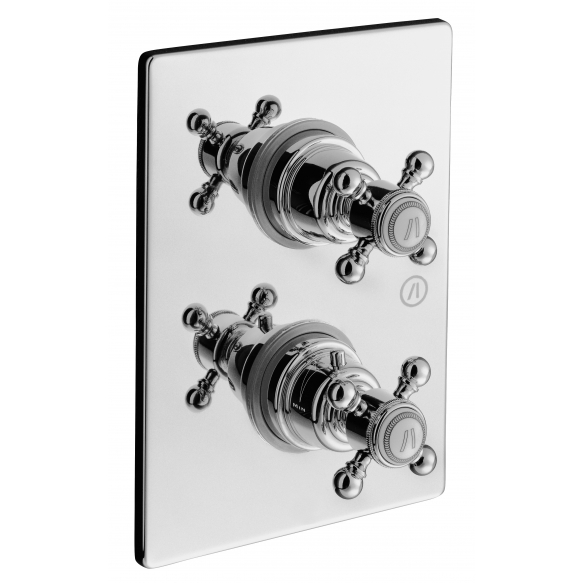 """CONCEALED THERMOSTATIC SHOWER VALVE """"LONDON"""" WITH TWO OUTLETS CERAMIC DIVERTER AND STOP, CHROME"""