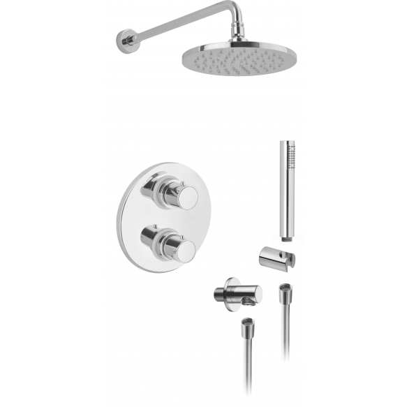 "CONCEALED THERM. SHOWER VALVE  ""COOL "" WITH 2 OUTLETS CERAMIC DIVERTER AND STOP,SHOWER ARM 350 MM Ø 18 M"