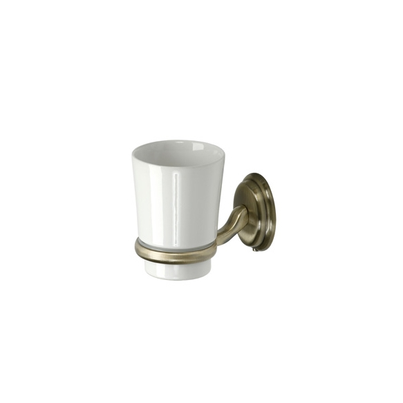 AMBER ceramic tumbler with holder bronze