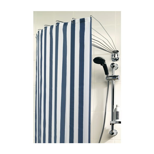 Foldable Shower Curtain Rod Umbrella Chrome Stainless Steel