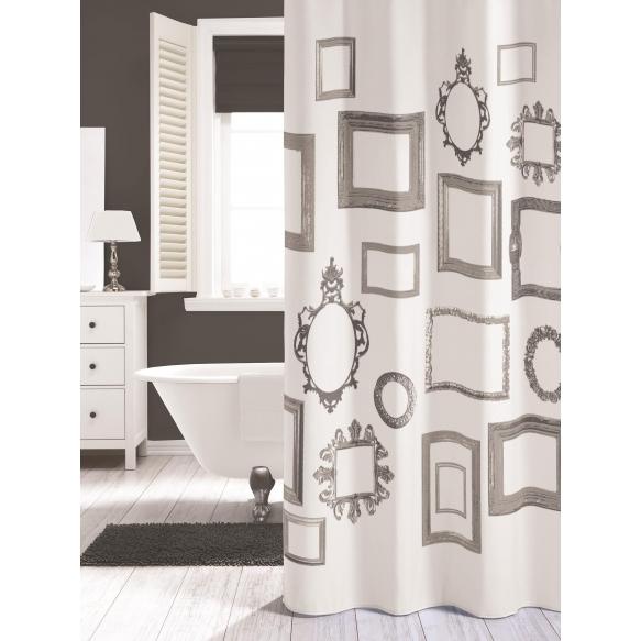 KADER shower curtain textile, white, 180x200cm