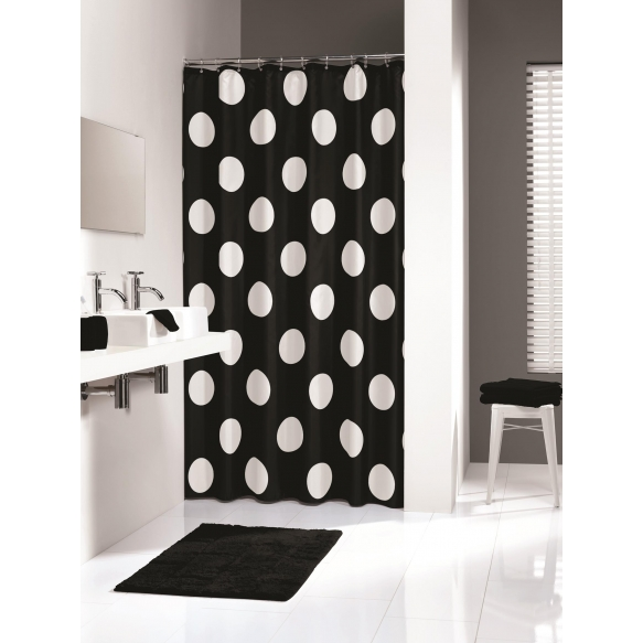 POLKA shower curtain textile, black, 180x200cm