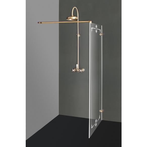 Raamita dušisein DORA pronksfurnituuriga ja ornamentidega , kirgas klaas
