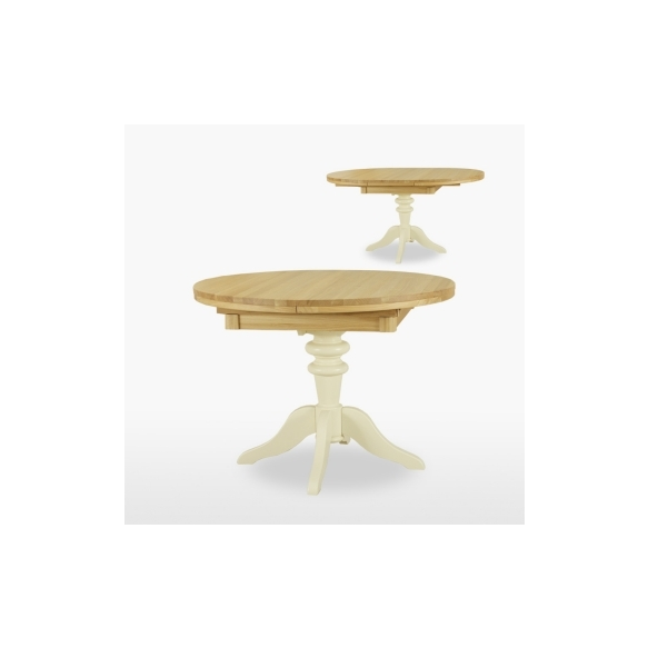 Round extending dining table 1 leaf