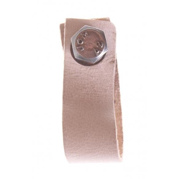 dark beige leather knob, 6 cm