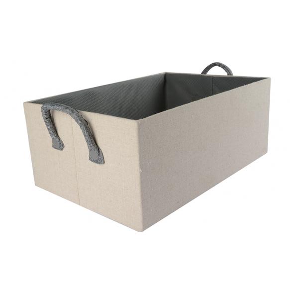 Box linen w nonwoven lining, s2, 40x26xh16cm, beige