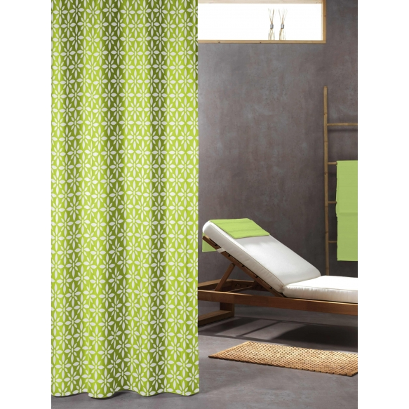FLOREALE Shower Curtain Textile Lime 180x200cm