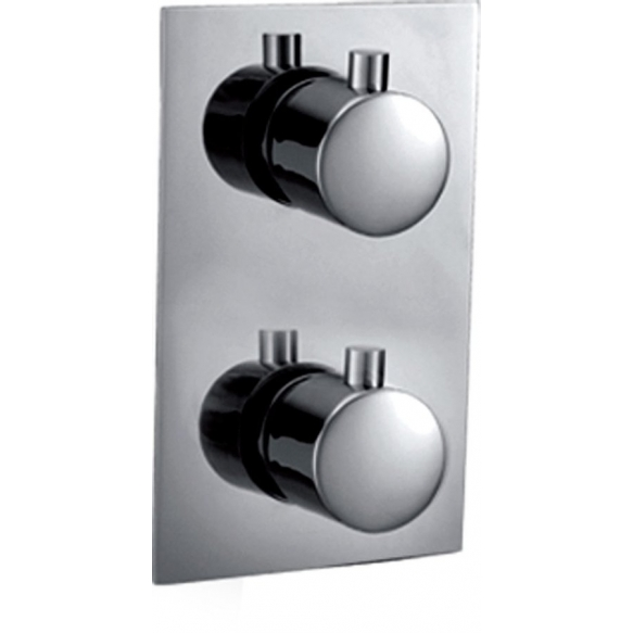 KIMURA Concealed thermostatic shower mixer, 2outlets, chrome, metal handles