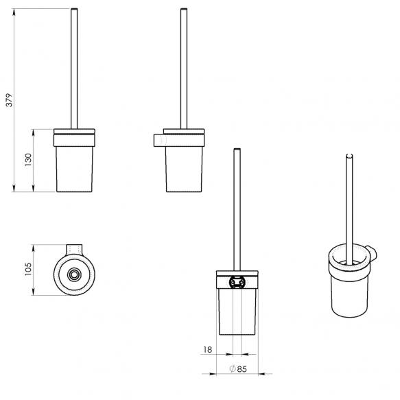 WC hari+hoidja Pyrene, kroom/matt klaas