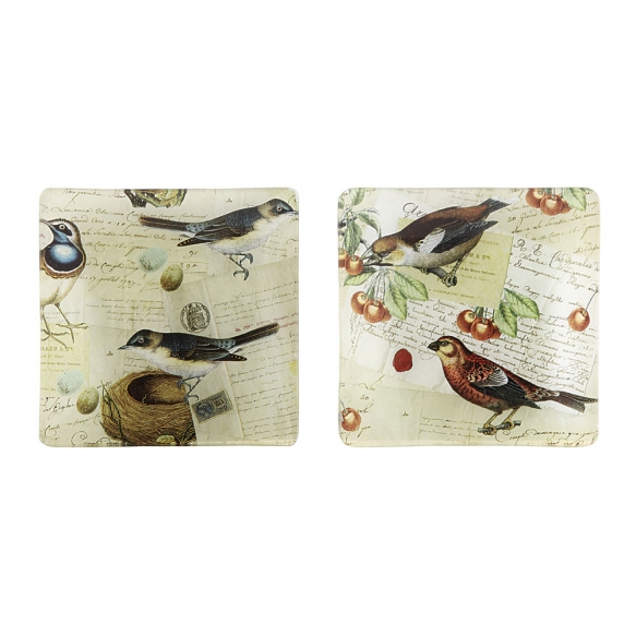 "4-1/2"" Square Glass PlateBird Decal, 2 Styles"