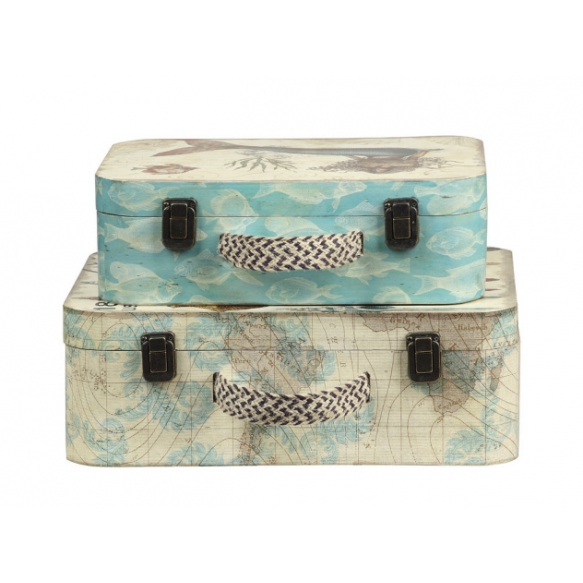 """14-1/2"""" & 17""""L Wood Suitcases/Trunks, Set of 2"""