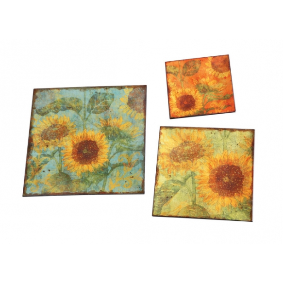 "12"" Square Decorative Trays w/ Sunflowers, Set of 3"