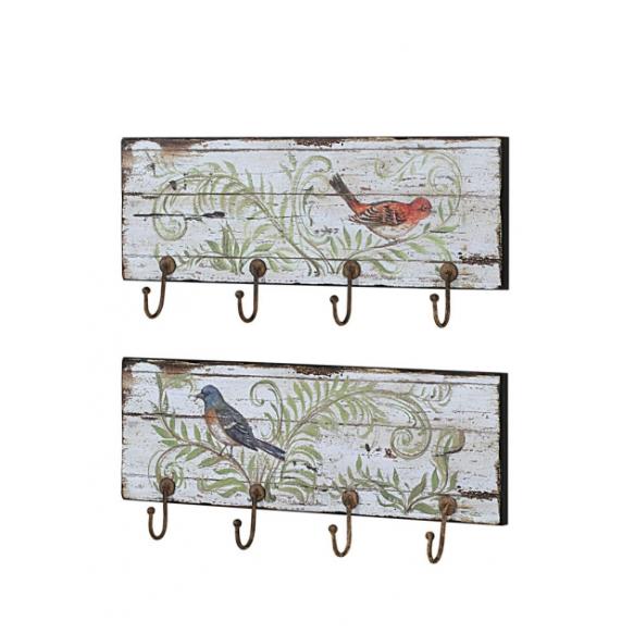 "24""L Wood Wall Plaque w/ Bird Image & 4 Hooks, 2 Styles"