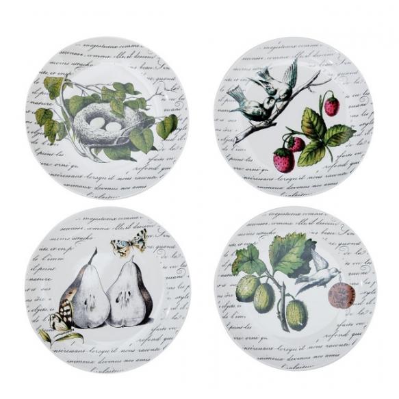 "8"" Round Stoneware Plate, 4 Styles"