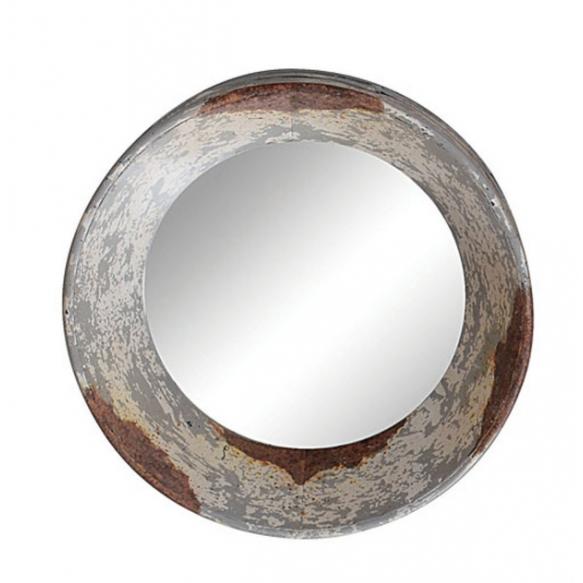 """16"""" Round Metal Framed Antique Mirror, Distressed Zinc Finish, Mirror Size 8"""" Round"""