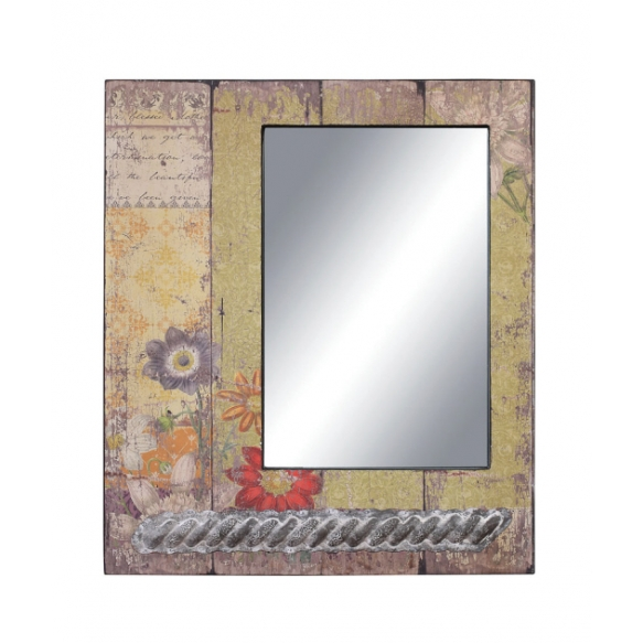 Puitraamiga peegel, mis on kaunistatud vähese tina ja lillemustriga