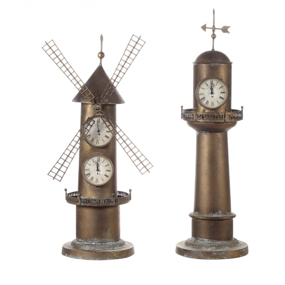 """33.25""""H Iron 2-Side LighthouseClock w/ Weathervane Top"""