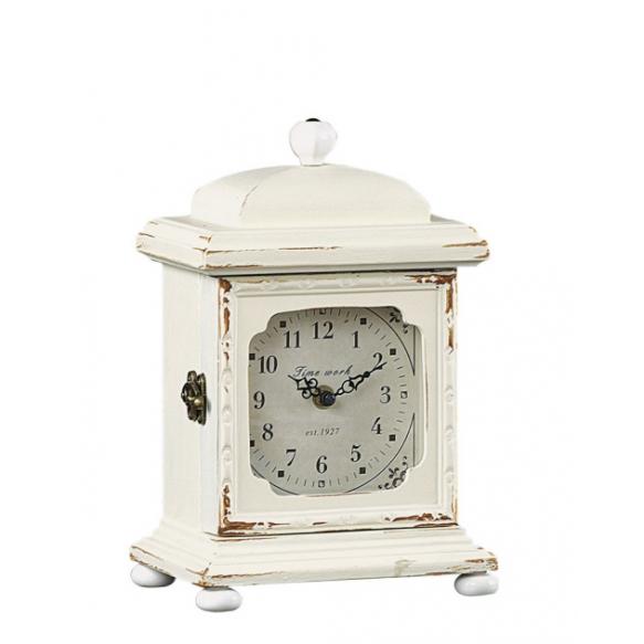 """10-3/4""""H Wood Mantle Clock, Cream"""