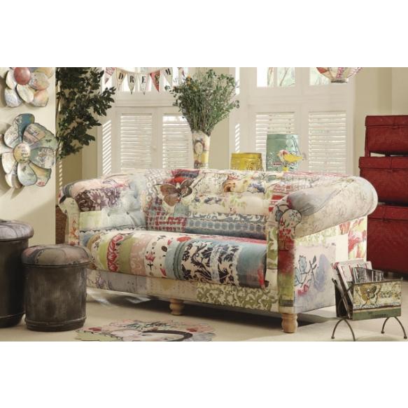 "73-1/2""L x 35""W x 33-1/2""H Fabric Sofa w/ ""Nurture Daydream"" Patchwork Print,"