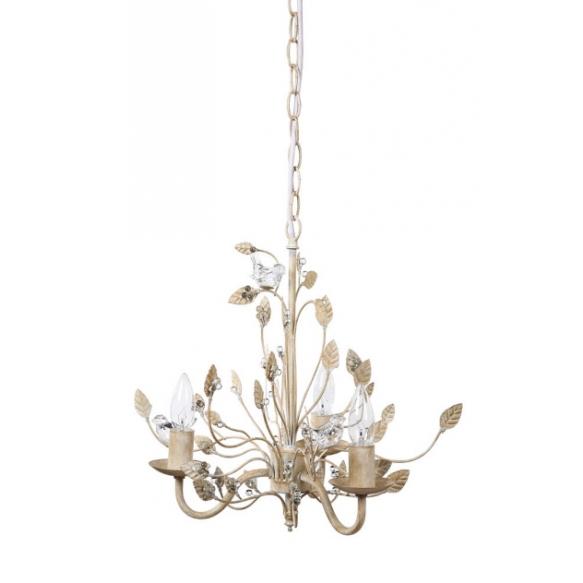 "15-3/4""H Metal Chandelier w/ Glass Birds,Cream,(25Watt Bulb Maximum)"
