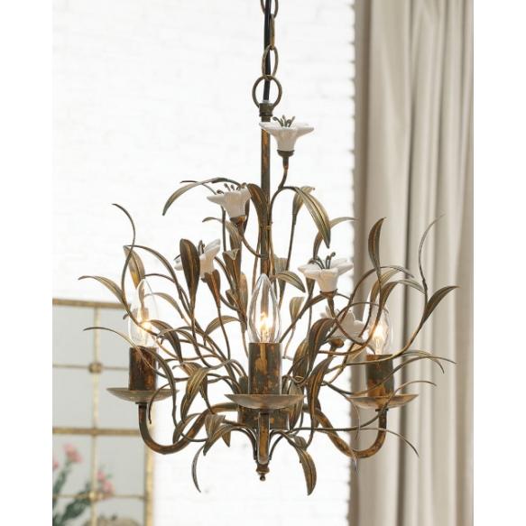 "15-7/8""H Metal Electrical Chandelier w/ Ceramic Flowers"