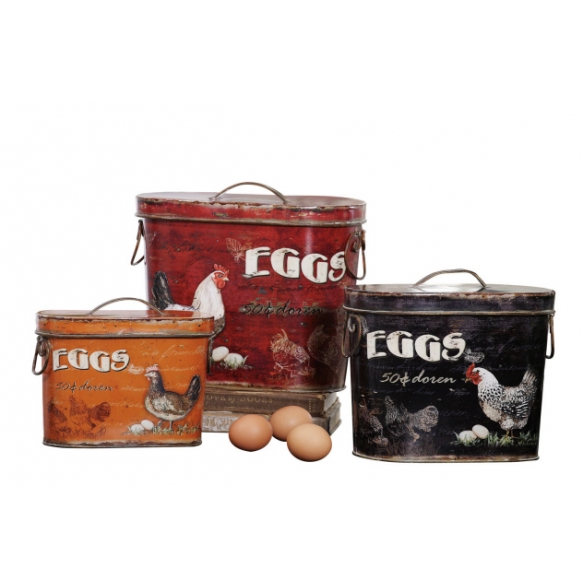 """12""""L Tin Boxes w/ Rooster & Eggs, Set of 3"""