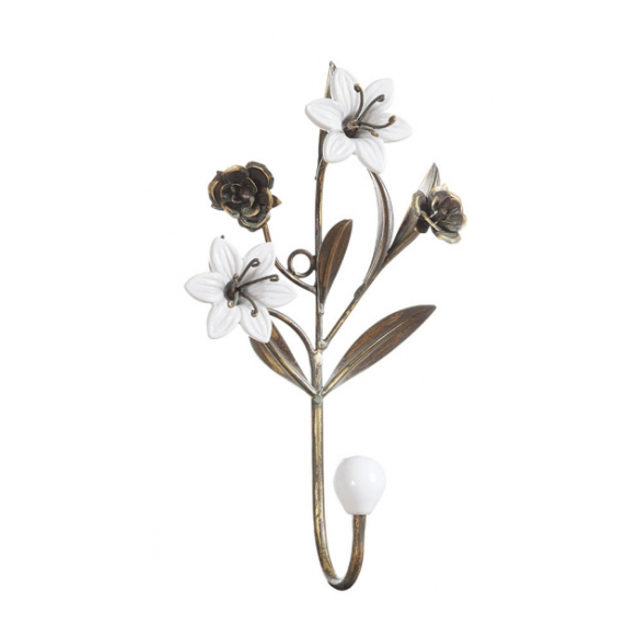 "10-1/4""H Metal Hook w/ Ceramic Flowers"