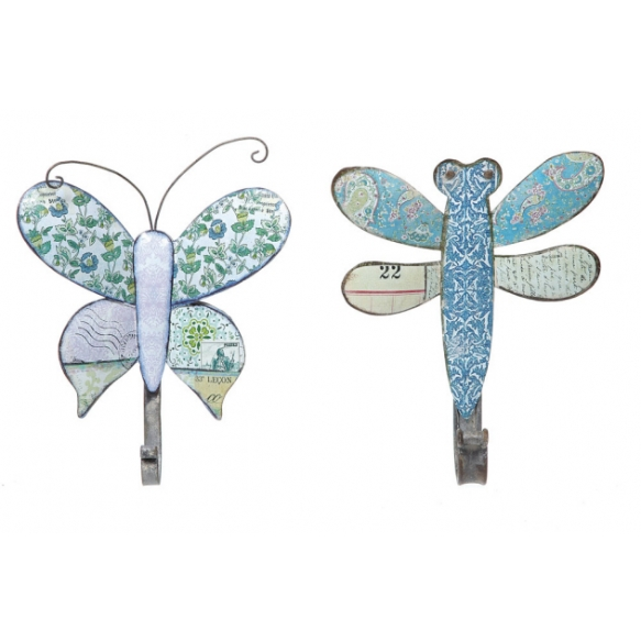 "8-1/4""H Tin Dragonfly/Butterfly Hook, 2 Styles"