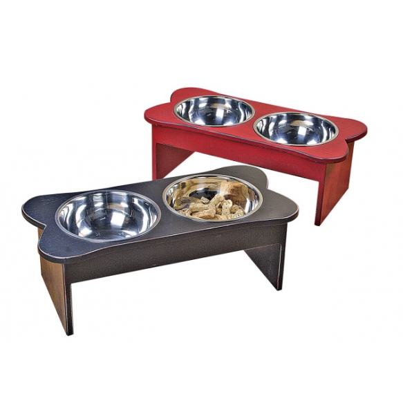 "8""H x 22""L Wood Bone Shaped Dog Bowls, 2 Colors"