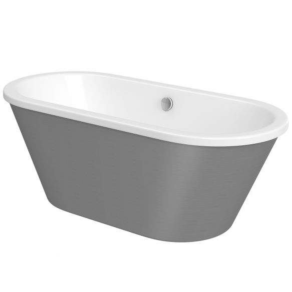 "acrylic bath Savoy, 170x75 cm, front panel with ""steel"" finish"