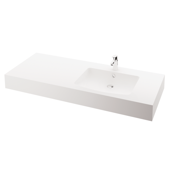 silkstone basin Piano 150cm,basin on  right, h 15 cm