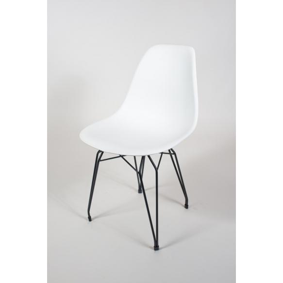 "chair Alexis, white, black metal ""Y"" feet"