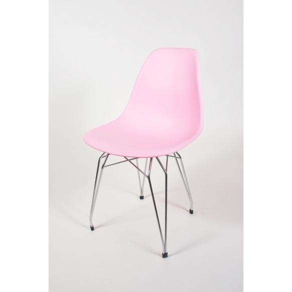 "chair Alexis, pink, chromed metal ""Y"" feet"