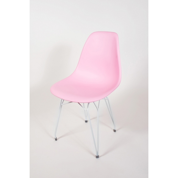 """chair Alexis, pink, white metal """"Y"""" feet"""
